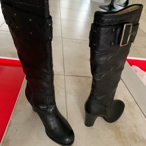 Coach meadow signature black leather boots 7.5